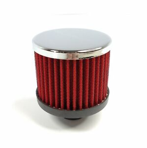 Chrome Valve Cover Push In Breather Red Filter Open Sided For 1 1 4 Hole