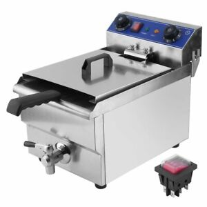 13l 1 65kw Stainless Steel Commercial Electric Deep Fat Fryer W drain