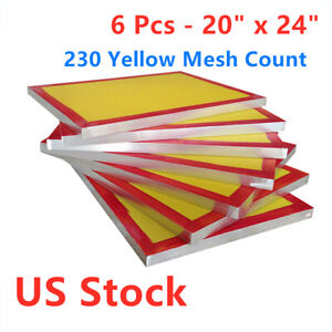 6pcs 20 X 24 Silk Screen Printing Screens With 230 Yellow Mesh Count Us Stock