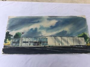 Mid Century Modern Architectural Watercolor Rendering Concept Art Classic Cars