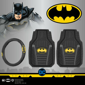 Batman Armored All Weather Car Floor Mats And Black Yellow Steering Wheel Cover