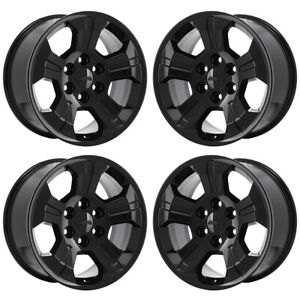 18 Silverado Sierra Surburban Z71 1500 Gloss Black Wheels Rims Factory Oem 5647