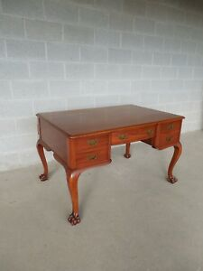 Antique Mahogany Ball Claw Feet Partners Desk By Karcher Rehn