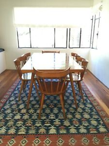 Paul Mccobb Planner Group Expandable Maple Dining Table Six Chairs C 1950