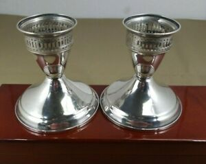 Vtg Pretty Classic Sterling Silver Pair Candle Holders By Ouchin