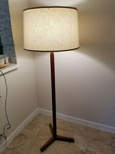 Vintage Mid Century Danish Modern Teak Floor Lamp Wood With Shade
