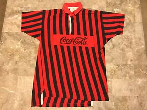 Vintage 80s Coca-Cola Box Logo Spell-Out Black Striped Polo Shirt Adult Size S