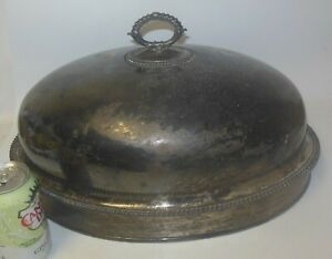 Antique Silver Plate Food Meat Turkey Dome Cover Gadroon Detail