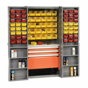 Storage Cabinet With Shelves 3 Drawers Yellow red Bins 38x24x72 Lot Of 1