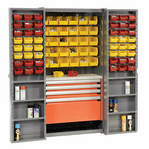 Storage Cabinet With Shelves 4 Drawers Yellow red Bins 38x24x72 Lot Of 1
