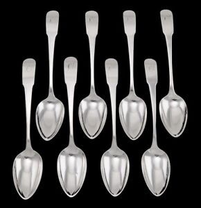 8 Antique Early 19th Century American Coin Silver Dessert Soup Spoons 7 3 8