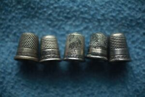 Lot Of 5 Vintage Antique Sterling Silver Sewing Thimbles English 1890 S Ornate