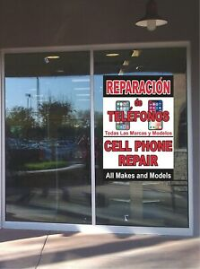 Banner Cell Phone Repair Spanish Window Business Advertising Professional