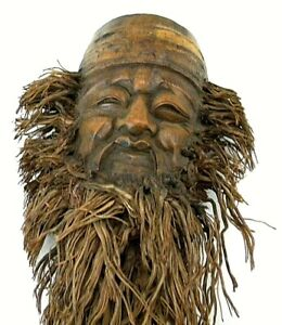 Vintage Hand Carved Face Mask Bamboo Root Wall Decor Home Decor Cp1