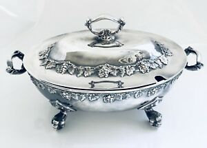 Beautiful Vintage Silver Plate Grapevine Soup Tureen By Lawrence B Smith Co