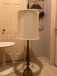 Mid Century Modern X Large Wood Brass Table Lamp Genie Bottle Style 5 Tall