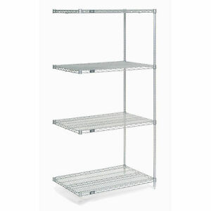 Chrome Wire Shelving Add on 36 w X 21 d X 63 h Lot Of 1