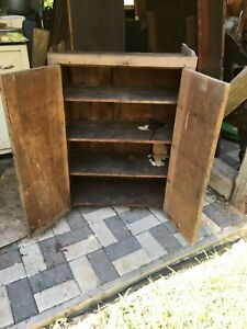 Primitive Jelly Cupboard Country Cabinet Solid Wood Antique Farmhouse Cabinet
