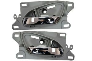 Interior Inside Door Handle Chrome Lever Gray Housing Front Left Right Pair