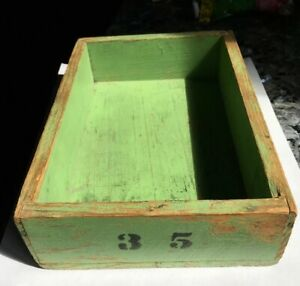 Antique Primitive Painted Green Wood Box With Number 35