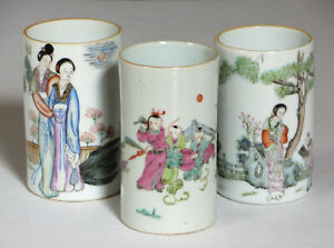 Three Antique Chinese Porcelain Brush Pots