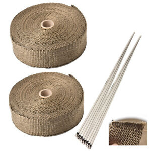 2pcs 2 50ft Titanium Fiberglass Exhaust Header Pipe Heat Wrap Tape W Ties Tool