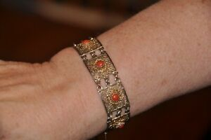 Chinese Filigree Silver With Coral Beads Bracelet Either 19th Or 20th Century
