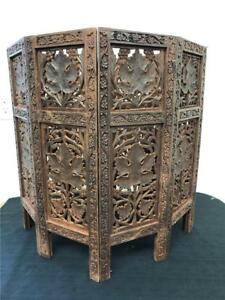 Beautiful Large Antique Indian Side Table Carved Wood Detailing