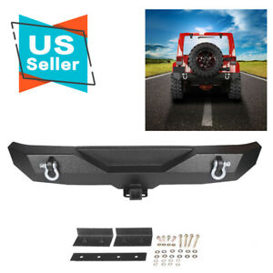 Textured Rock Crawler Rear Bumper Receiver Hitch Fits 87 06 Jeep Wrangler Yj Tj