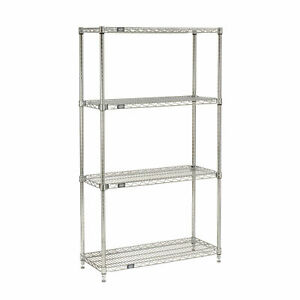 Quick Adjust Wire Shelving Chrome 48x14x63 Lot Of 1