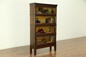 Oak Antique 4 Stack Lawyer Bookcase Signed Globe Wernicke Wavy Glass 30709