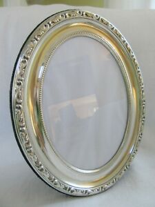 Big Vintage 9 5 Ornate Oval Silver Picture Frame English Repousse Easel Beaded