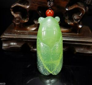 100 Natural Hand Carved Chinese Jade Pendant Jadeite Necklace Cicada 805d