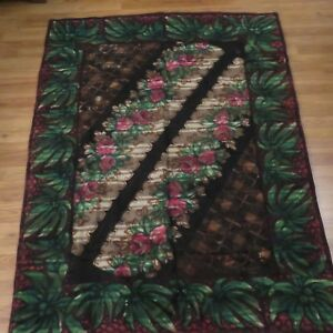 Antique Mohair Lap Blanket Sleigh Carriage Floral Flowered Windowpane Design