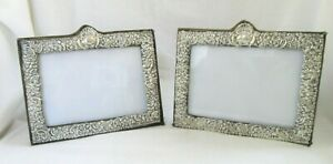 2 Ornate 7 Antique Sterling Silver Picture Frame English Repousse Easel Pair