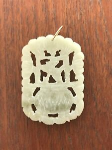 Antique Chinese Carved Jade Pendant 18k Gold Bale