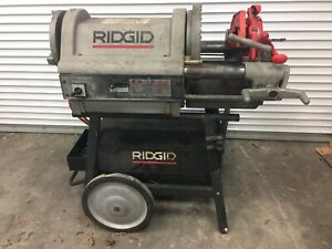 Ridgid 1224 Pipe Conduit Threader 1 4 To 4 With Dies Wheel And Cabinet Stand