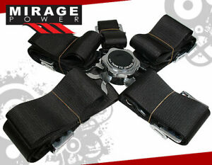 Pair 3 Shoulder Strap 5point Camlock Harness Black Racing Seat Belts For Toyota