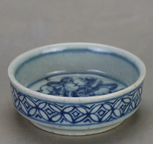 Old Chinese Beautiful Ming Dyn Wanli Blue And White Porcelain Tea Cup B05