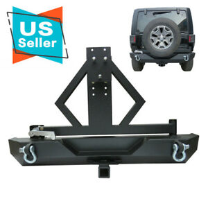 Heavy Duty Rock Crawler Rear Bumper Tire Carrier Fit 87 06 Jeep Wrangler Tj Yj