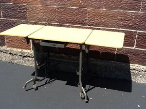 Vtg Toledo Industrial Secretary Typing Desk On Wheels 3 Top Sections Nice