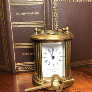 Antique Matthew Norman Brass Carriage Clock With Key And Box