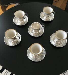 Sterling And Lenox Demitasse Cups Saucers