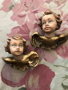 Vintage Hand Carved Putti Pair Of Cherubs From Italy