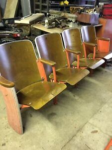 Vintage Stadium Seating Theater Auditorium 4 Chairs With 2 Ends Will Ship