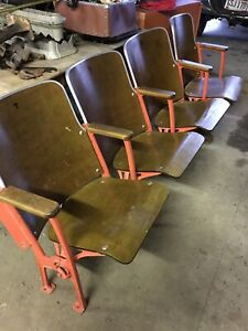 Vintage Stadium Seating Theater Auditorium 4 Chairs Will Ship