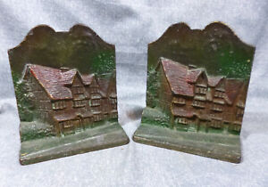 Vintage 1930 S 40 S Cast Iron Shakespeare House Bookends