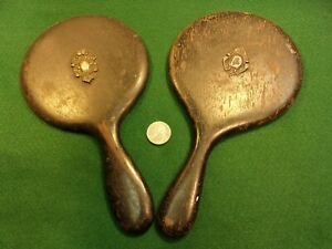 Pair Of Very Old Vtg Antique Victorian Sterling Silver Tags Vanity Mirrors