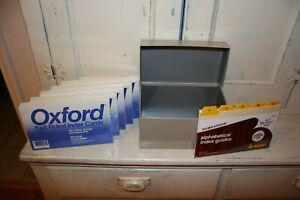 New 500 5x8 Index Cards And Alphabetical Index Guide With Used Tan Metal Box