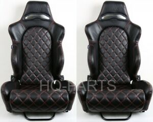 2 X Tanaka Black Pvc Leather Racing Seats Reclinable Red Diamond Stitch Fits Vw